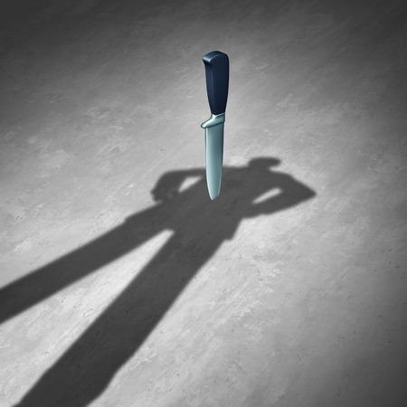businesspersons: Back stabbing or backstab concept as a symbol of business betrayal and treachery as the shadow of a businessman with a knife or dagger stabbed behind him as a metaphor for unsuspecting aggression as a 3D illustration. Stock Photo