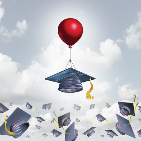 alumni: School support and college graduation concept and scholarship symbol as a mortarboard or graduate cap being lifted higher with the help of a balloon with 3D illustration elements.
