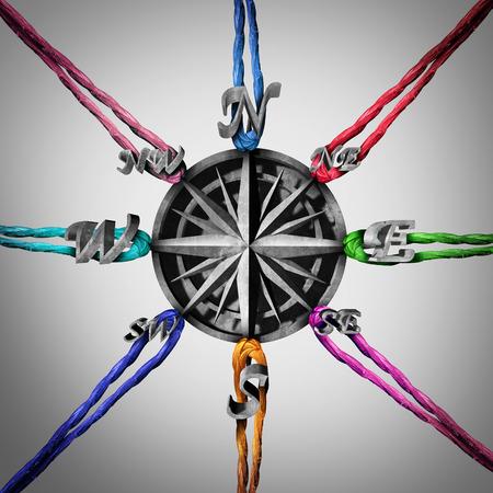 Tirando in diverse direzioni concetto di business come una bussola che è tirato da un gruppo di corde come metafora per opporsi punti di vista e la confusione di orientamento con elementi illustrazione 3D. Archivio Fotografico - 56997777