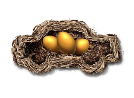 auto leasing: Car financing concept as a nest shaped as an automobile or auto with golden eggs inside as a financial symbol for transportation investment or leasing payments with 3D illustration elements. Stock Photo