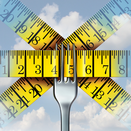 Fork measuring tape nutrition and diet lifestyle concept as a metaphor for calorie monitoring and human fitness icon with 3D illustration elements. Reklamní fotografie