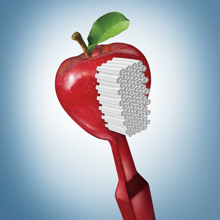 teeth cleaning: Toothbrush health and brushing as dental oral care with a tooth brush shaped as a red apple as a teeth cleaning symbol with 3D illustration elements.