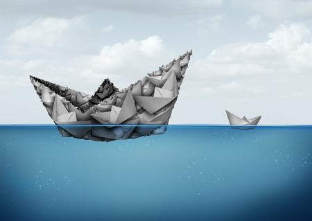 gestion empresarial: Gestión y organización concepto financiero y de negocios como un grupo de barcos de papel se unen para crear una entidad grande tamaño powerfiul para competir mejor y tener éxito en un estilo de ilustración 3D. Foto de archivo