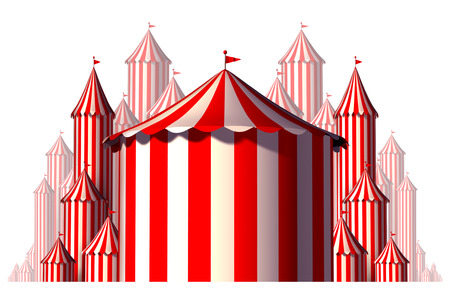 big top tent: Circus tent group element concept in a horizontal carnival composition as an entertainment and amusement symbol for a festive special event celebration isolated on a white background as a 3D illustration.
