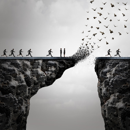 Lost opportunities concept as a too late metaphor with businesspeople running to cross a bridge in time but the link is broken by the mountain flying away in the shape of birds in a 3D illustration style. Stockfoto