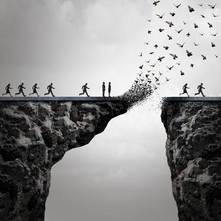 Gemiste kansen concept een te laat metafoor met ondernemers die draait om een brug in de tijd te steken, maar de koppeling wordt verbroken door de berg weg te vliegen in de vorm van vogels in een 3D-afbeelding stijl.