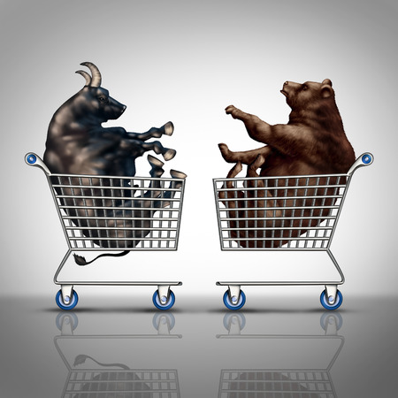 bullish: Stock market shopping and trading decision financial concept as a bear and a bull inside a shop cart as an investing and investment dilemma symbol with 3D illustration elements.