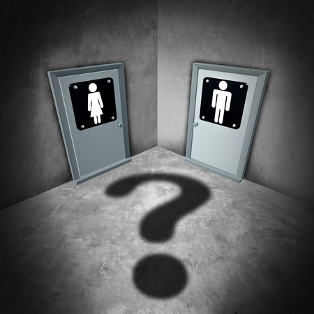 challenging sex: Transgender issues concept and gender identity symbol or sex reassignment surgery idea as a female and male bathroom doors with a question mark shadow as a metaphor for sexual confusion as a 3D iullustration.