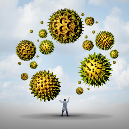 fever plant: Pollen allergy treatment concept as a group of microscopic organic pollination particles being juggled by a medical doctor as flowering plants flying in the air as a health care 3D illustration symbol.