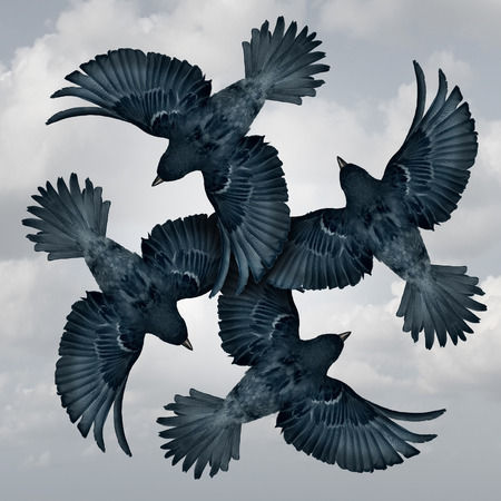 surrealistic: Family circle symbol as a group of coordinated and organized flying birds joining wings together as a trust metaphor for friendship and support as a photo realistic illustration. Stock Photo