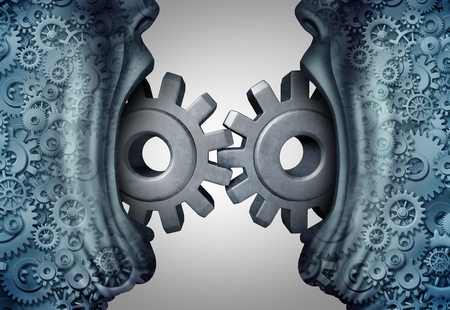 Concept of business communication and industry exchange symbol as two people with open mouths communicating connecting gears and cog wheels with 3D illustration elements.