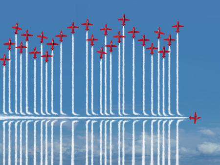Concetto differente strategia di business come un individuo jet che vola sotto la competizione come metafora per il nuovo pensiero strategico fiducioso di trovare una nuova strada per il successo con elementi illustrazione 3D.