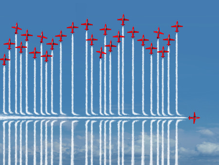 liderazgo empresarial: Diverso concepto estrategia de negocio como un avión a reacción individuo volar bajo la competencia como una metáfora de un nuevo pensamiento estratégico confía en encontrar un nuevo camino hacia el éxito con elementos de ilustración 3D.