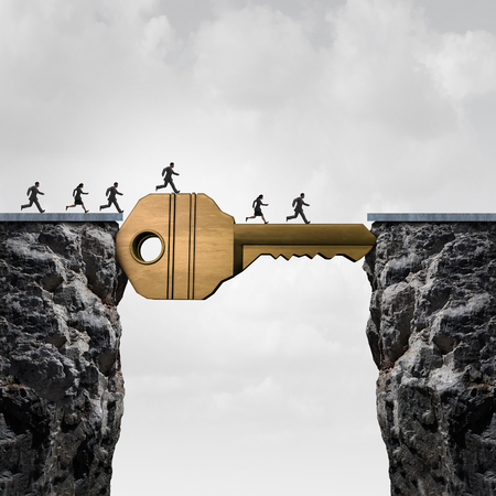 business opportunity: Success key concept as a group of people running across two cliffs with a giant golden brass security object acting as a bridge to reach opportunity with 3D illustration elements. Stock Photo