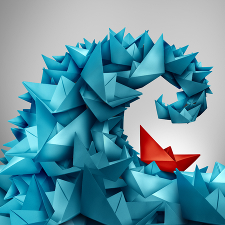 Concept du risque commercial et problèmes à venir en tant que groupe de bateaux de papier en forme une onde undertow ou barboter avec un seul bateau rouge face au défi et la difficulté à naviguer dans un style d'illustration 3D. Banque d'images