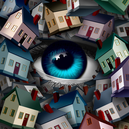 home security: Neighborhood watch and home security concept as a group of houses covering a human eye ball as a realestate or inspection metaphor as a 3D illustration. Stock Photo