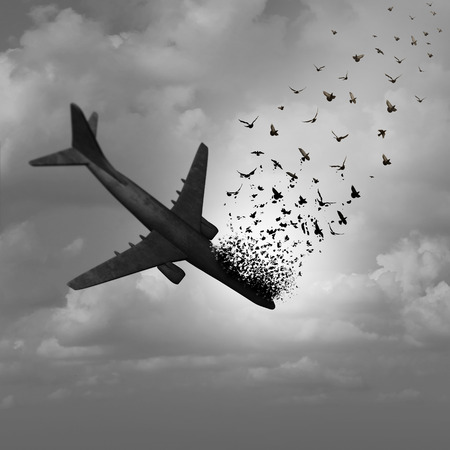 Plane Disappearance and missing flight concept as a plunging crashing airplane falling apart in the sky and tranforming into flying birds as a metaphor for aviation tragedy with 3D illustration elements.