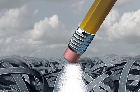 boulevard: Concept of business solution as a path that has been erased by a giant pencil eraser through a confused group of tangled roads as a motivation metaphor for success with 3D illustration elements. Stock Photo