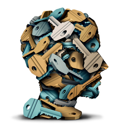 Key head concept as a group of 3D illustration keys grouped together in the shape of a human face as a security solution and intelligence metaphor. Stock Photo