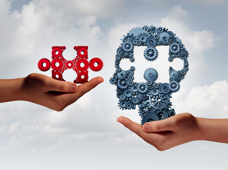 business development: Concept of business training and skill development symbol as human hands holding a puzzle piece and gears shaped as a head as a technology or training metaphor with 3D illustration elements.