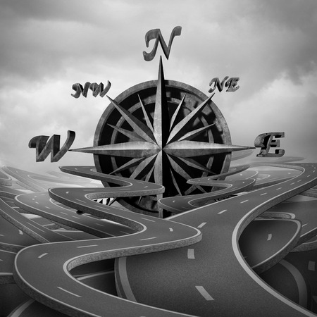 surrealistic: Concept of navigation as a business compass symbol or moral compass icon in a group of roads and pathway routes as a journey metaphor for destination vision as a 3D illustration.