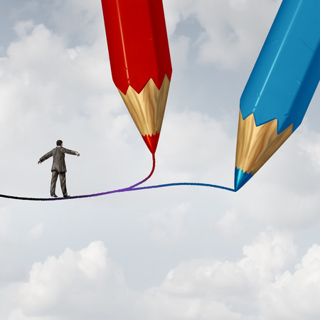 walking path: Concept of business direction as a businessman walking on a highwire drawn by two pencils as a crossroad challenge to choose the correct path or pathway to success with 3D illustration elements.