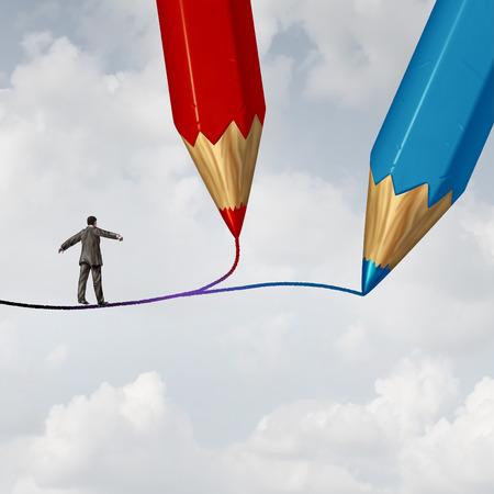 Konzept der Business-Richtung als Geschäftsmann auf einem Hochseil durch zwei Bleistifte als Kreuzung Herausforderung gezogen zu Fuß den richtigen Pfad oder Weg zum Erfolg mit 3D-Darstellung Elemente zu wählen. Standard-Bild - 56997805