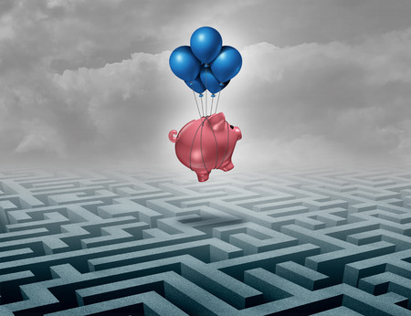 clearing the path: Financial savings support concept as a finance leadership solution with a piggybank or piggy bank flying above a maze as a business motivation metaphor of innovative thinking for money success as a 3D illustration. Stock Photo