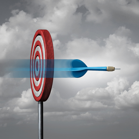 imprecise: Missing the target concept as a dart way off the mark or bullseye as a metaphor for failure and failing to hit a goal with 3D illustration elements. Stock Photo