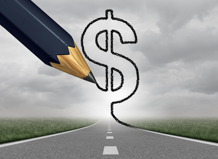 Business profit and wealth path as a money road to fortune with a black pencil drawing a dollar currency symbol on a success highway with 3Dillustration elements.