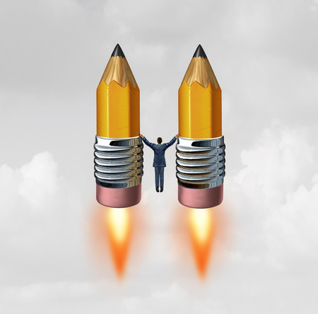 blasting: Business creative rocket concept as a businessman holding two pencils with rocket engine flames blasting off upwards towards success with 3D illustration elements.
