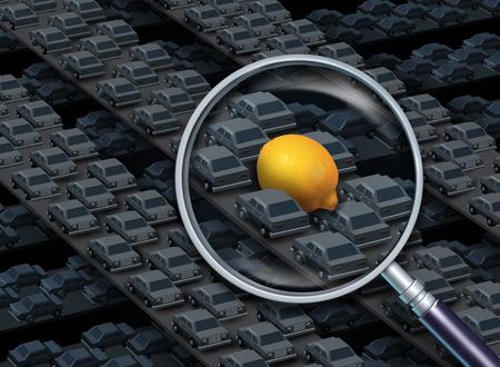 Prowadzenie cytryny samochód koncepcyjny w postaci szkła powiększającego koncentrując się na grupie samochodów na autostradzie z żółtym owoców cytrusowych jako pojazd jako symbol wadliwego auto z elementami 3D ilustracji. Zdjęcie Seryjne