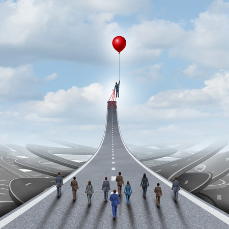 business team success: Ambitions concept and business success management and team manager symbol as a businessman lifting a road up with a balloon as a leadership metaphor with 3D illustration elements. Stock Photo