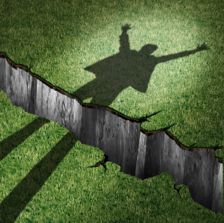overcome: Overcome obstacle and concept of success power as a cast shadow of a cheering person leaping through a cliff opening  as a metaphor for oversoming barriers and finding a way to victory with 3D illustration elements.