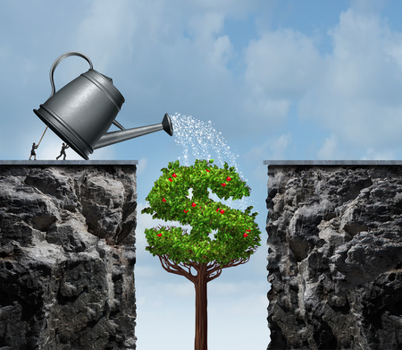 Planning for financial success business concept as a group of businesspeople using a watering can to feed a growing moneey tree that will close the gap and create a success bridge with 3D illustration elements. Imagens