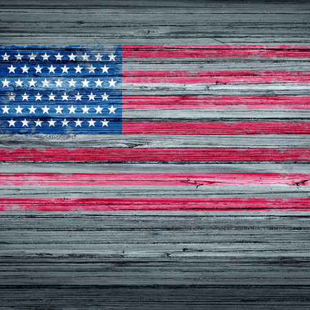 observance: American remembrance day background rustic antique USA flag painted on old weathered wood as a patriotic symbol for memorial day observance as a traditional holiday symbol to honor the veterans in a 3D illustration style.