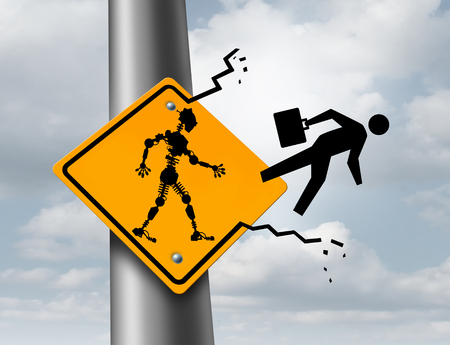 layoff: Robots taking jobs technology and employment concept as a robotic cyborg kicking out a human worker out of a sign as a metaphor for the effects of automation with 3D illustration elements.