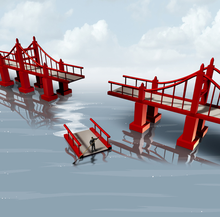 contingency: Strategy change and contingency plan as a businessman using part of a bridge as a floating barge to set a different path as a business planning metaphor with 3D illustration elements.