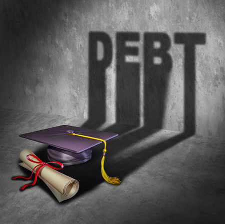 lending: College debt and student financial concept as a graduation mortar board and diploma with a cast shadow as an icon for tuition loan repayment or lending and education financing with 3D illustration elements.