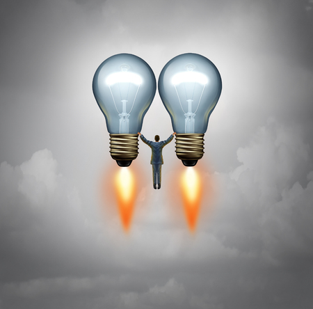 enterprising: Entrepreneur success idea concept and investor symbol as a businessman or venture capitalist taking off on two lightbulbs as rockets with 3D illustration elements. Stock Photo