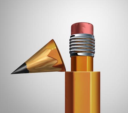 Corrigerende strategie als een open potlood onthullen een gum binnen als een bedrijf herziening metafoor voor het aanbrengen van wijzigingen en verbeteringen of herzien van een contract als een 3D-afbeelding.