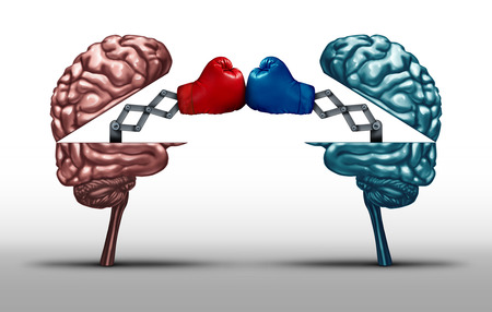 Battle of the brains and war of wit concept as two opposing open human brain symbols fighting as a debate or dispute metaphor and an icon for creative competition in a 3D illustration style. Standard-Bild