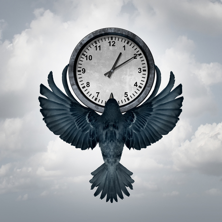 business symbols metaphors: Time flies concept as a bird with open wings lifting up a clock as a metaphor for management of deadline or managing appointments with 3D illustration elements.