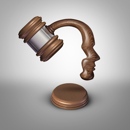 sentencing: Legal mind law thinking concept and judgement symbol as a judgement mallet or gavel made shaped as a human head as a metaphor for strategies in legislation or intelligent legal opinions and judge or lawyer ideas. Stock Photo