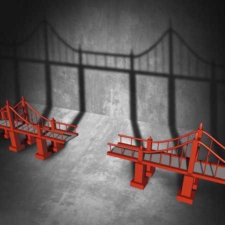complete solution: Connecting a bridge business concept as a broken elevated path casting a shadow that unites the empty space with 3D illustration elements. Stock Photo