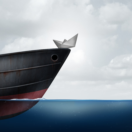 intervene: Big business helping small business as a financial  and corporate support metaphor as a huge ship providing assistance to a small paper boat as a symbol for investment or economic funding of smaller companies with 3D illustration elements. Stock Photo