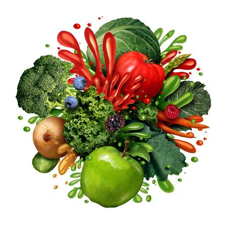 Groente vruchtensap splash als een groep van verse groenten en fruit met vloeibare druppels spatten als een gezonde smoothie of gezondheidsdrank concept geïsoleerd op een witte achtergrond in een realistische foto illustratie. Stockfoto