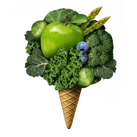 Summer healthy food concept as green fruit and vegetable treats as nutritious snacks shaped as an icecream on a cone as a health and fitnesss metaphor for good eating habits during the hot days with 3D illustration elements. Stock Photo