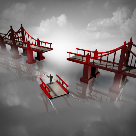 construct: Expert advice and problem solver business solution concept as a person or businessman navigating the missing piece of a bridge as a metaphor for technical expertise or professional consultant with 3D illustration elements. Stock Photo