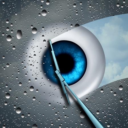 3 D イラストレーションの要素を持つ検眼や眼科医学のシンボルとして、ワイパーで拭いている眼球の前に濡れたコップとして目のケアやアイケア健
